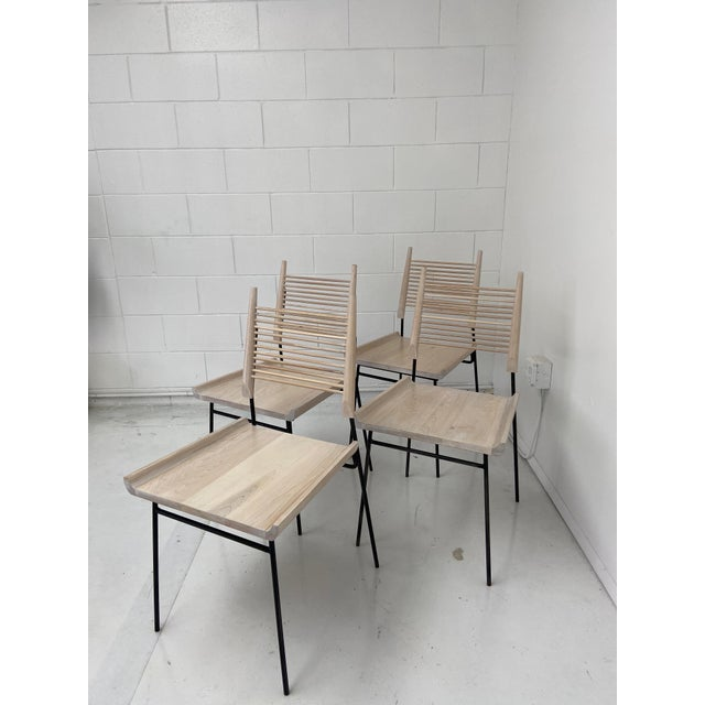 Paul McCobb Style Oak and Iron Chairs- Set of 4 For Sale - Image 11 of 13