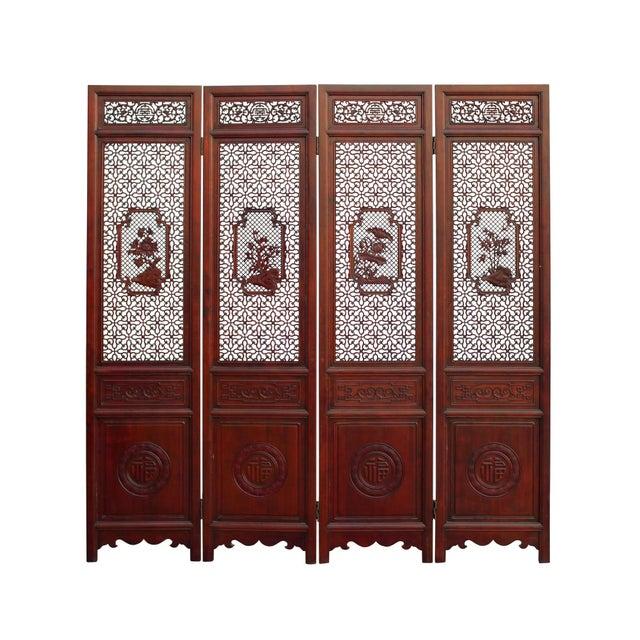 Chinese Reddish Brown Stain 4 Seasons Flower Wood Panel Floor Screen For Sale - Image 13 of 13