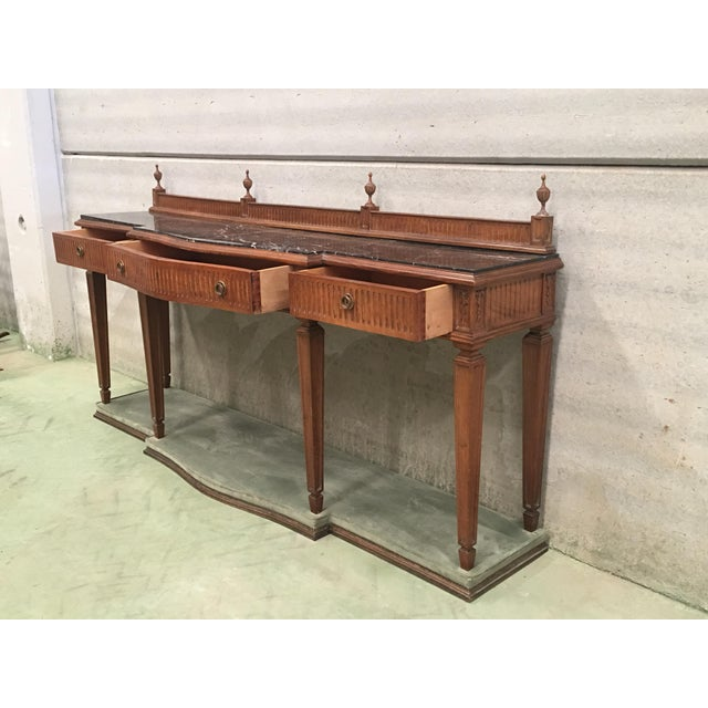 20th Century Louis XVI Style Neoclassical Console Table With Three Drawers For Sale - Image 4 of 13