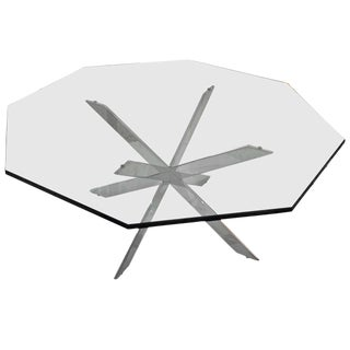 Iconic Double X-Base Chrome and Glass Cocktail Table: Leon Rosen for Pace For Sale