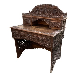 Early 20th Century Carved Chinese Dragon Desk For Sale
