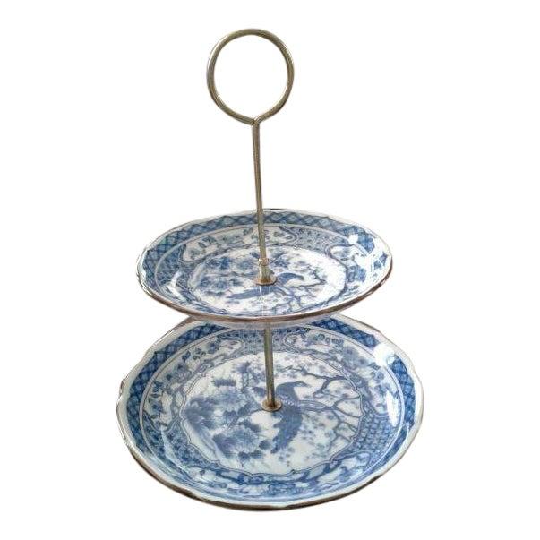 Vintage Oriental Blue Peacock Dessert Tray For Sale