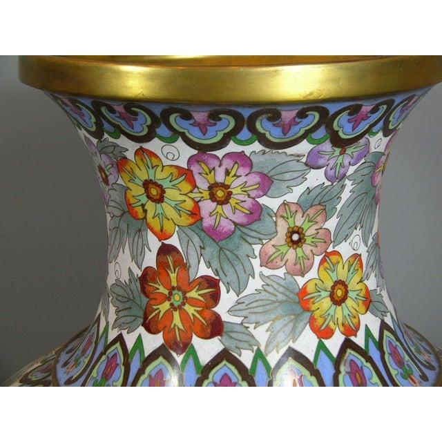 Asian Large Vintage Chinese Millefleur Cloisonne Vase For Sale - Image 3 of 9