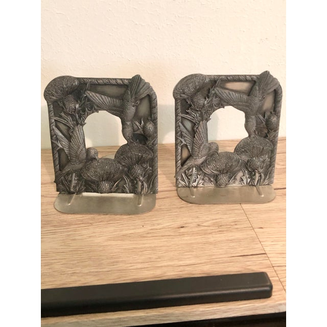 1970s Vintage Pewter Hummingbird Book-Ends For Sale - Image 5 of 5