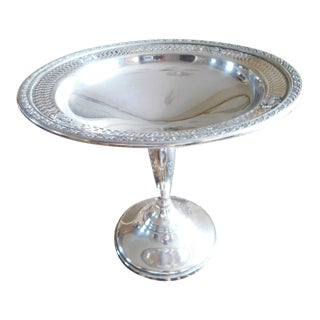Sterling Openwork Weighted Mueck Carey/Towle Mid-Century Compote/Pedestal Dish For Sale