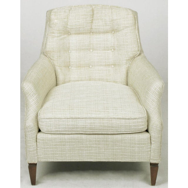 Hollywood Regency Button Tufted Creamy Linen Lounge Chair and Ottoman For Sale - Image 3 of 9