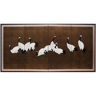C.1920-1960s Japanese Ten Tsuru Cranes Byobu Screen For Sale