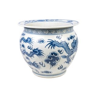 Blue and White Porcelain Dragon and Phoenix Fish Bowl Preview