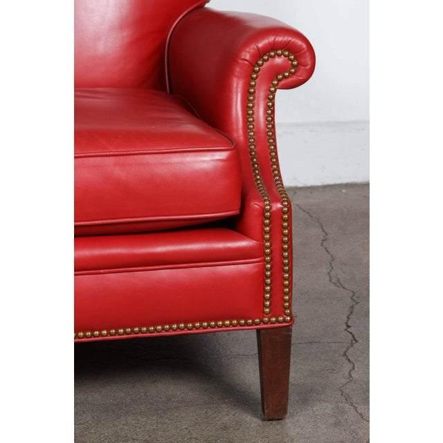 Pair of Red Leather French Club Armchairs For Sale - Image 10 of 12