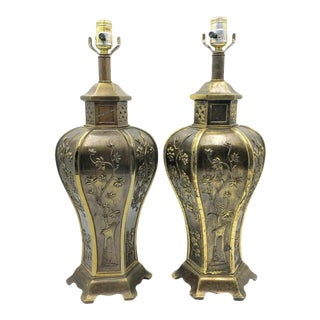 Pair of Vintage 80s Brass Pagoda China Style Table Lamps For Sale