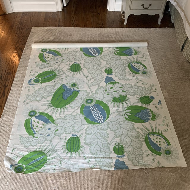 Textile Christopher Farr Carnival Linen Fabric in Green and Blue -2 1/2 Yards For Sale - Image 7 of 10
