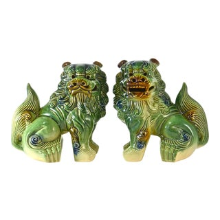 Vintage Green & Blue Chinese Foo Dogs - A Pair