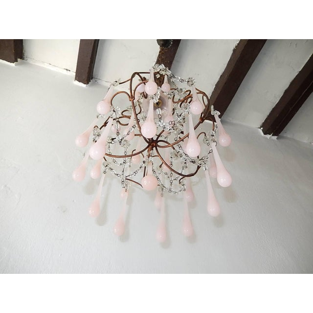 Glass French Pink Opaline Murano Drops Chandelier, circa 1920 For Sale - Image 7 of 9
