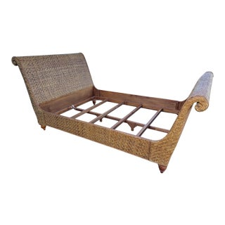 Vintage Woven Rattan Sleigh Queen Size Bed For Sale