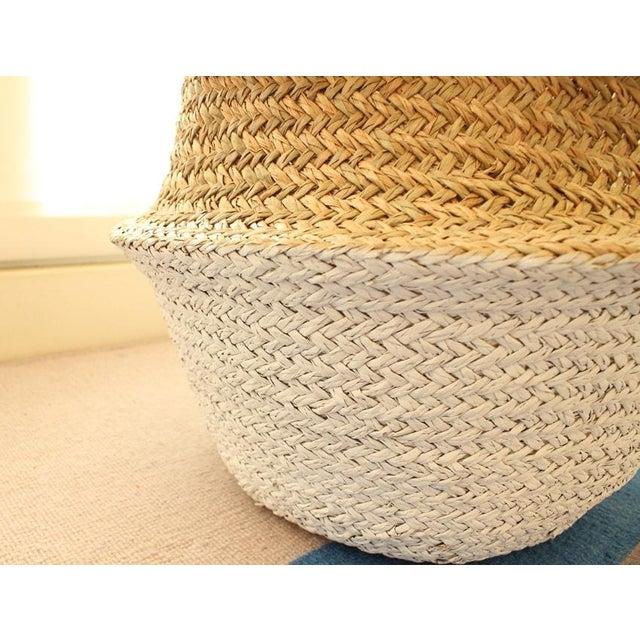 Sea Grass & White Pom Pom Basket - Image 4 of 9
