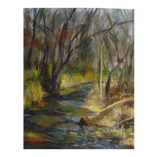 Plein Air Forest Stream Painting For Sale