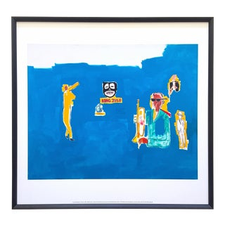 "Jean Michel Basquiat Estate Framed Lithograph Fine Art Print "" King Zulu "" 1986 For Sale"