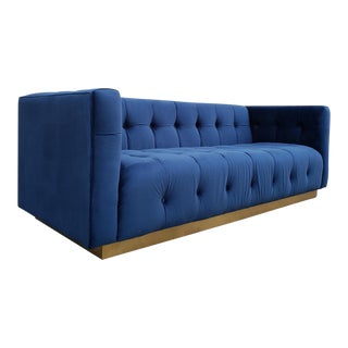Modern Tufted Blue Floating Sofa For Sale