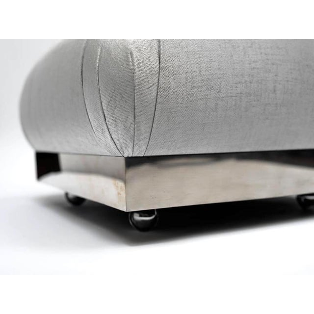 Chrome Hollywood Regency Oversized Ottoman or Pouf With Soufflé Design For Sale - Image 7 of 9