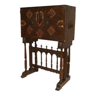 Spanish Renaissance Style Wrought Iron Mounted Walnut Vargueno For Sale