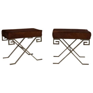 Mid-Century Benches Upholstered With Cowhide - a Pair For Sale