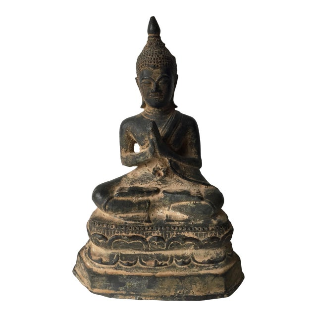 Vintage Iron Seated Buddha Sculpture For Sale