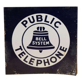 Bell System Double-Sided Steel Telephone Sign For Sale