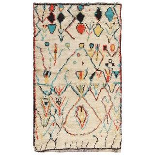 Small Vintage Moroccan Colorful Rug - 4′2″ × 7′ For Sale