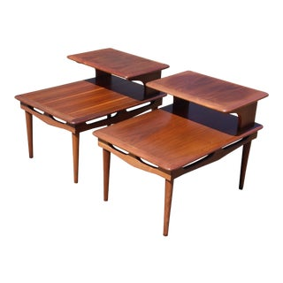 Vintage Mid Century Modern Walnut Step End Tables Two Tier Nightstands - a Pair