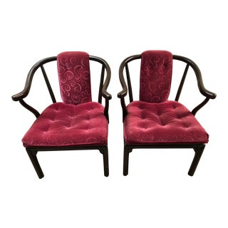 1960s Asian Burgundy Velvet Rosewood Horseshoe Chairs - a Pair For Sale