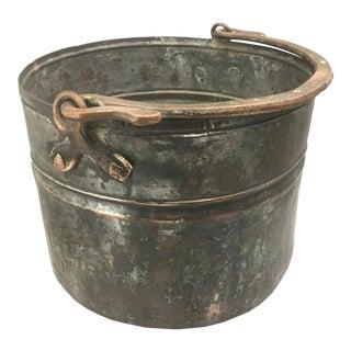 Hand Hammered Vintage Copper Pail For Sale