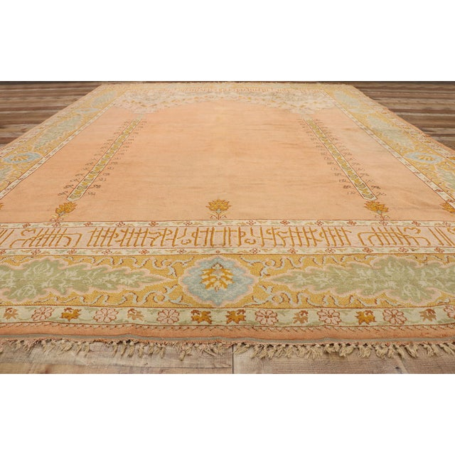 Textile Late 19th Century Antique Turkish Oushak Rug - 10'09 X 13'03 For Sale - Image 7 of 10