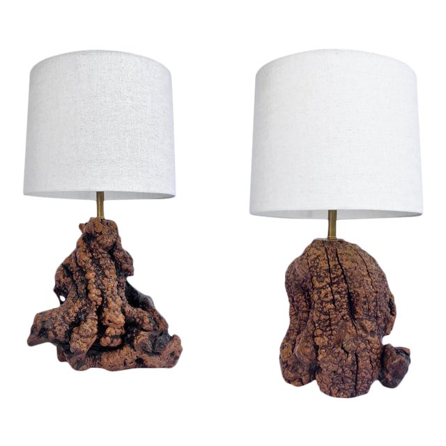 Mid Century Burl Root Table Lamps - a Pair For Sale