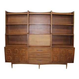 Mid Century Modern Broyhill Sculptra Wall Unit 7pcs For Sale