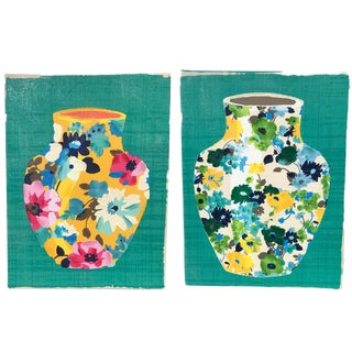 Contemporary Colorful Vase Panel Paintings - A Pair For Sale