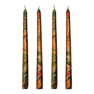 """Autumn 10"""" Marbleized Taper Candles, Set of 4 For Sale"""