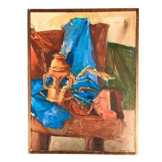 Mid-Century Large-Scale Still Life, Framed and Signed For Sale