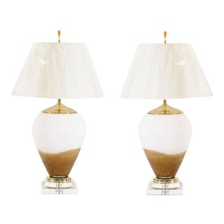 Exceptional Pair of Blown Glass Lamps in Caramel and Cream For Sale