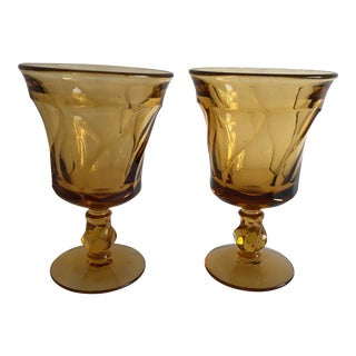 Midcentury Swirl Design Amber Color Wine or Water Glasses S/2 For Sale