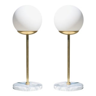 Artifact Table Lights in Carrara Marble by Object Refinery - a Pair For Sale