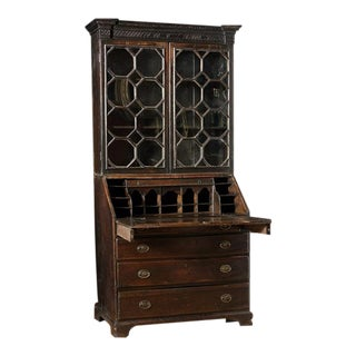 Irish Oak Bureau Bookcase With Glass Doors For Sale
