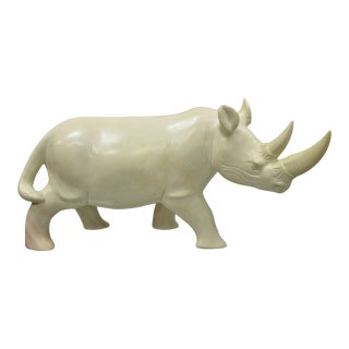 "Large Carved Soapstone 21"" Rhinoceros African Sculpture For Sale"