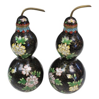 Asian Style Cloisonne Bottles - a Pair For Sale