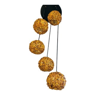 Modern Spiraling Amber Crushed Glass Globe Chandelier For Sale