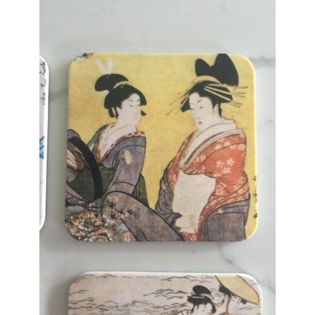 Plastic Japanese Geisha Women Coasters - Set of 6 For Sale - Image 7 of 10