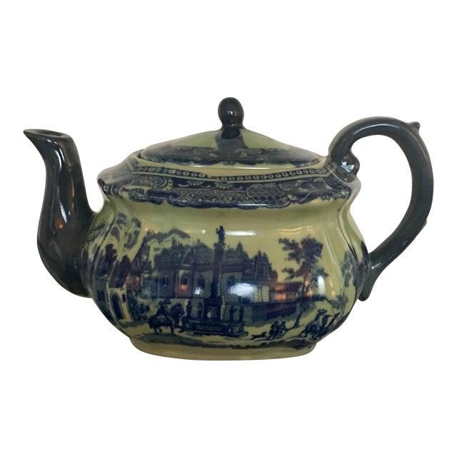Vintage Flow Blue English Teapot For Sale