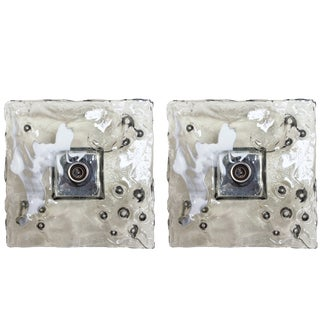 Murano Glass Square Sconces / Flush Mounts by Mazzega - a Pair For Sale