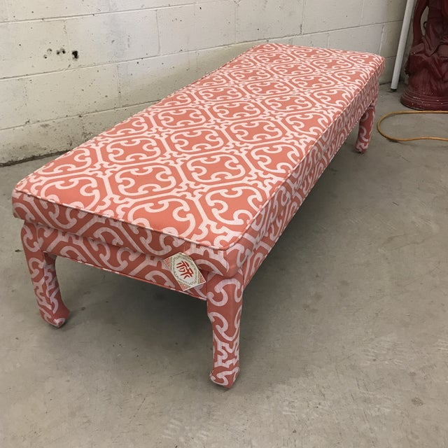 1970s Ming Style Bench in Scalamandre Fabric For Sale - Image 5 of 12
