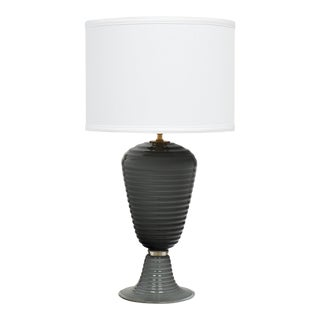 Single Gray Ridged Murano Glass Lamp