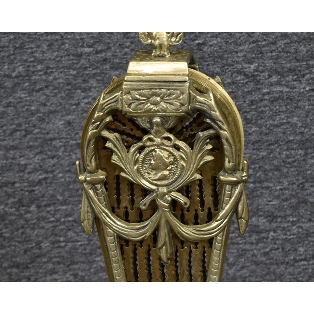 Vintage 1900's Victorian Peacock Brass Fireplace Screen Summer Cover For Sale - Image 9 of 12